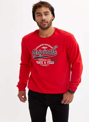 DeFacto Baskılı Slim Fit Sweatshirt Kırmızı
